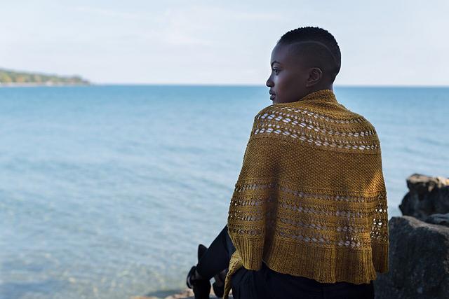 Stunning Gold Shawl, Knit Design by EweKnit Toronto