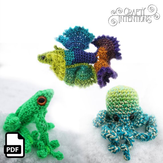 Crochet a Betta Fish, Frog, and Octopus With This Amigurumi Set By Crafty Intentions