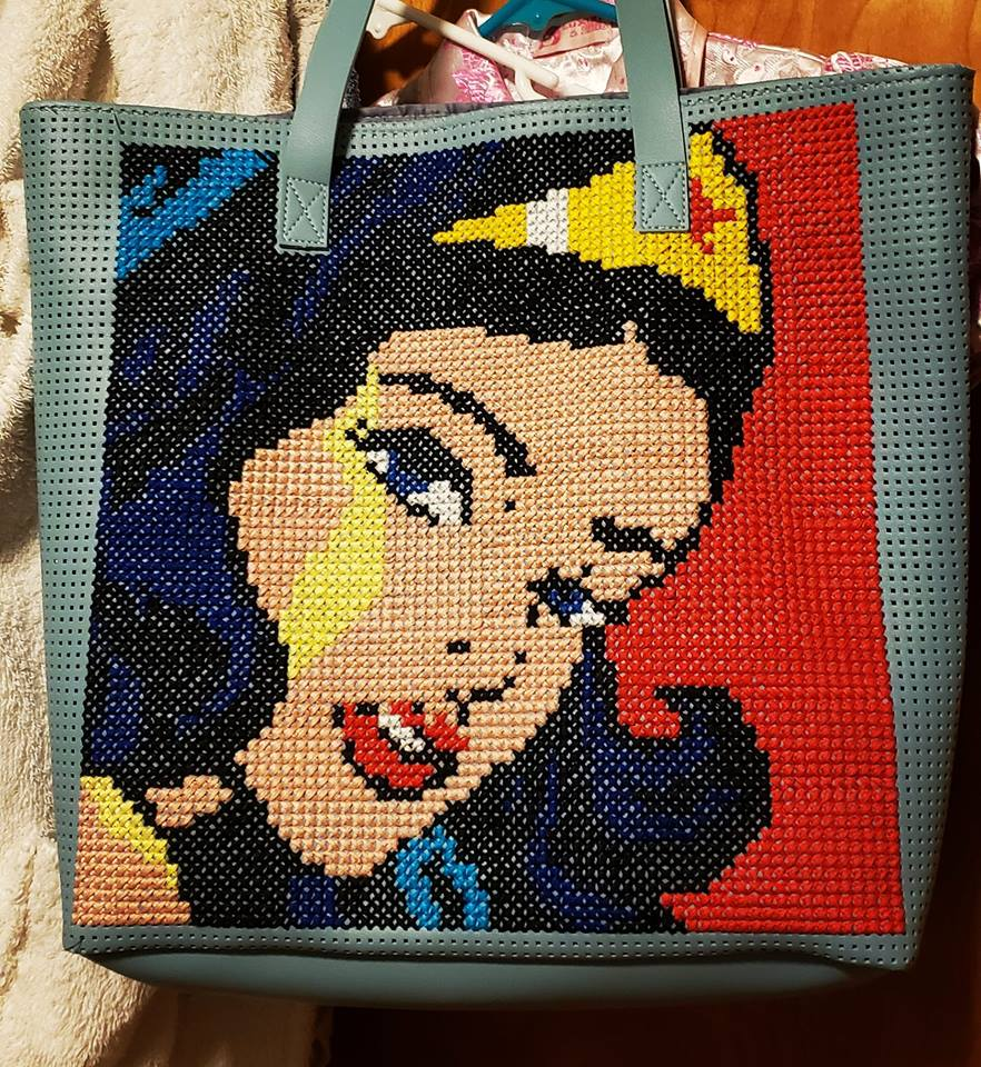 She Used Her Cross Stitch Superpower To Turn a $7 Tote Into This ...