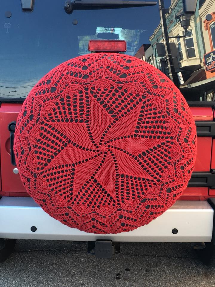 Gorgeous Knitted Tire Cozy Spotted By The Knitting Trucker Outside the Yarn Garden in Michigan