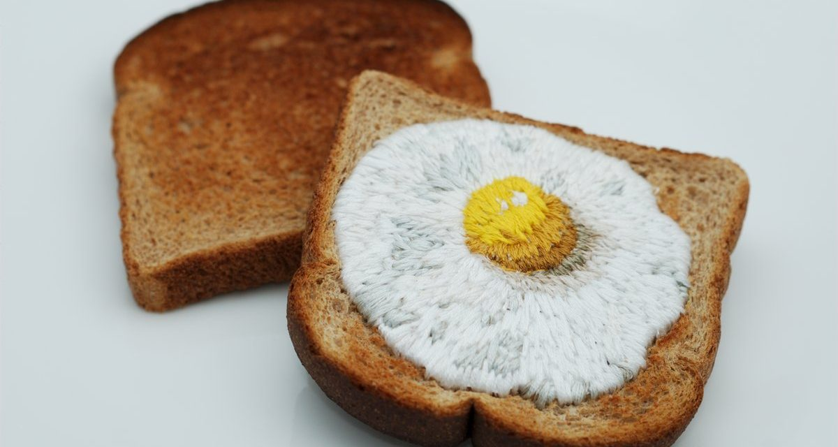 Taking Ephemera To A New Level … Embroidered Egg on Toast … It's Really Toast