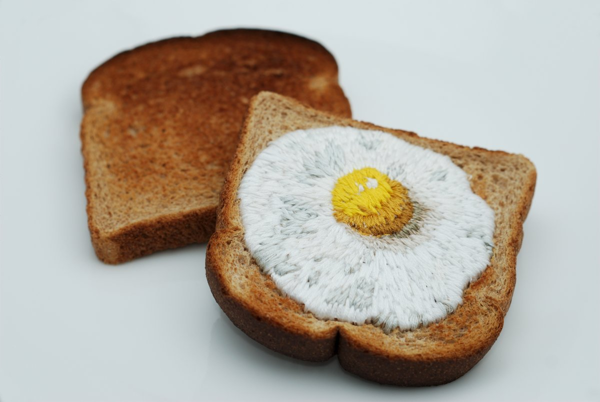 Taking Ephemera To A New Level ... Embroidered Egg on Toast ... It's Really Toast