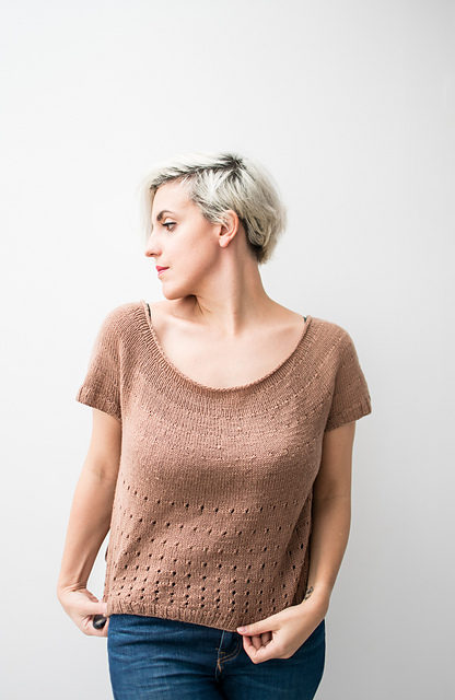 Free Pattern Alert: Knit a Scoop Neck T-Shirt, Pattern Okay For Beginners!