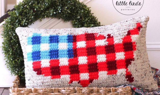 Crochet a Two-Tone Buffalo Plaid American Flag Pillow – It's So Handsome!