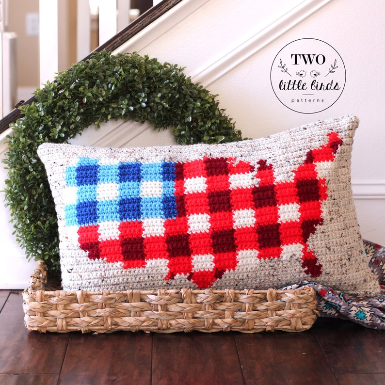Crochet a Two-Tone Buffalo Plaid American Flag Pillow - So Handsome!