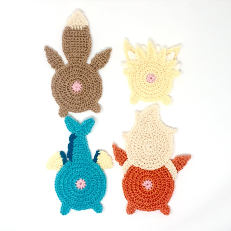 Crochet a Set of Pokébutt Coasters! LOL ... Two Sets To Choose From