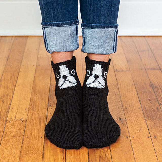 Add a Little Spunk To Your Life, Knit Up a Pair of These Pizzazzy Boston Terriers Socks