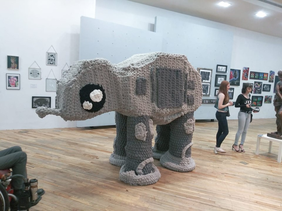 She Crocheted A Supersized AT-AT Walker Amigurumi ... Look, It's Taller Than You!