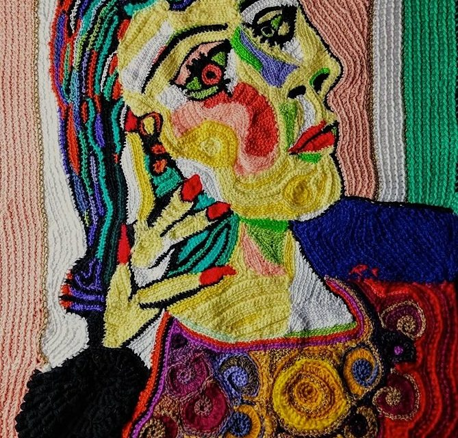 Picasso's Lady Dora Maar Portrait Reworked In Yarn Crocheted By Rita Cavallaro