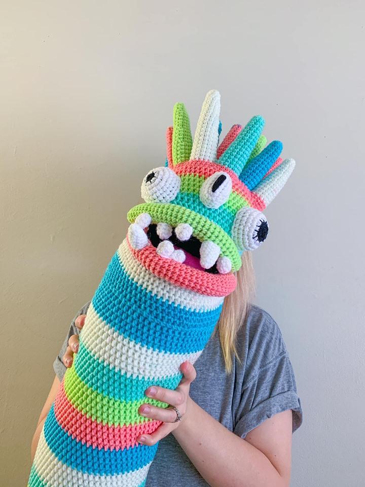 Olivia's Crochet Monster Alien Body Pillow Makes Me Laugh!