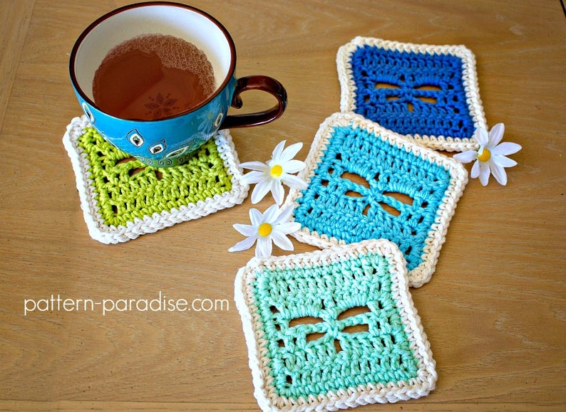 Dragonfly Coasters Pattern With Cute Caddy