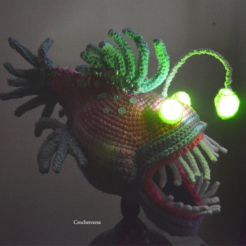 Hello Crazy Cool Cosplay ... Incredible Angler Fish Mask & Wrist Gauntlets By Crochetverse