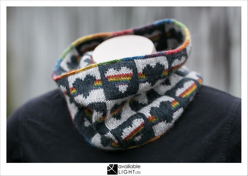 Knit a Beautiful U-knit-y Cowl … You'll Love the Rainbow Heart Motif!