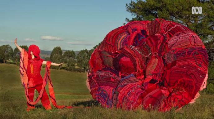It Took 20 Women Two Years To Knit a Massive 150kg Placenta Replica Using T-Shirt Yarn