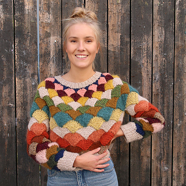 Knit a Pangolin Statement Sweater With Scarp Yarn ... Gorgeous Stashbuster!