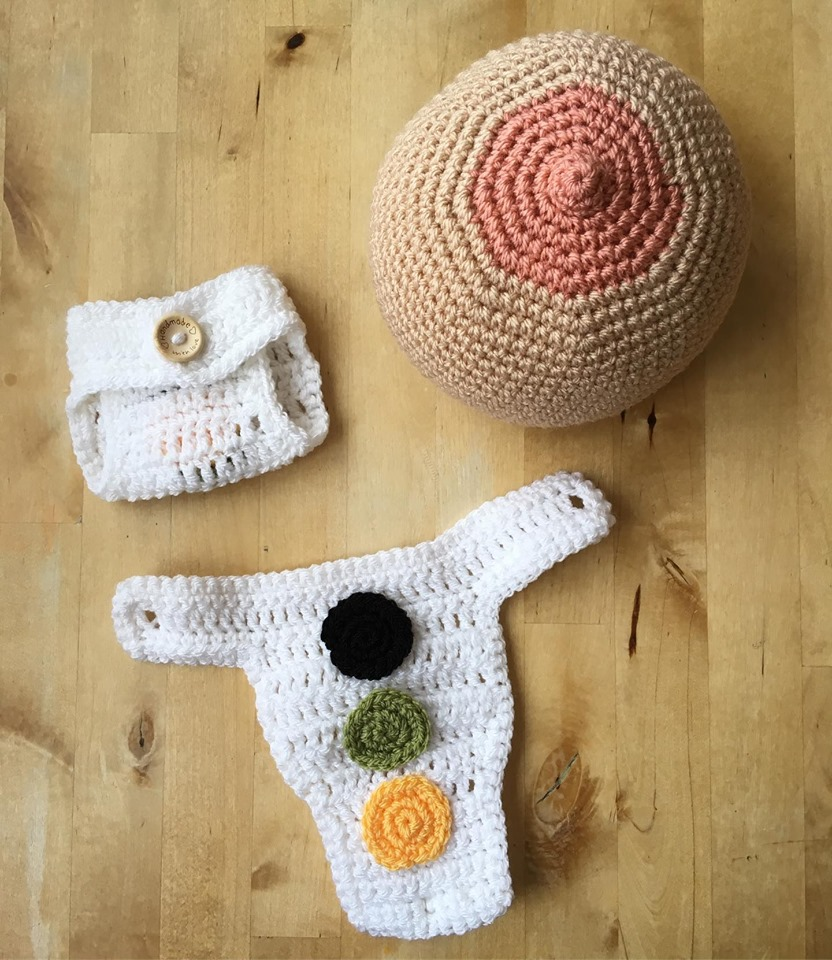 Learning The First Days of Baby Poop ... Instructional Diaper Crocheted For a Midwife