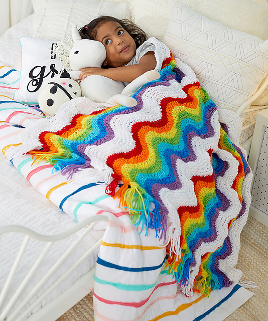 Knit an 'After The Rain' Rainbow Throw ... FREE Pattern!