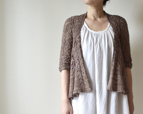 Knit a Hitofude Cardigan, Designed by Hiroko Fukatsu