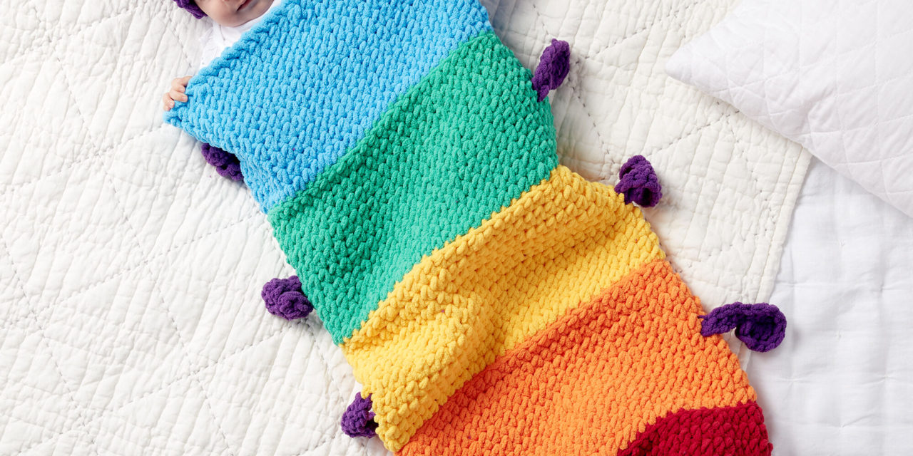 Crochet a Rainbow Caterpillar Snuggle Sleepsack … Makes An Adorable Baby Gift!