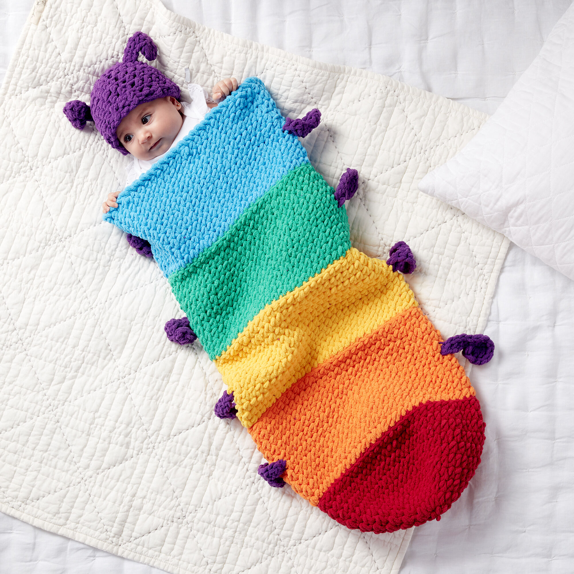 Crochet a Rainbow Caterpillar Snuggle Sleepsack ... Makes An Adorable Baby Gift!