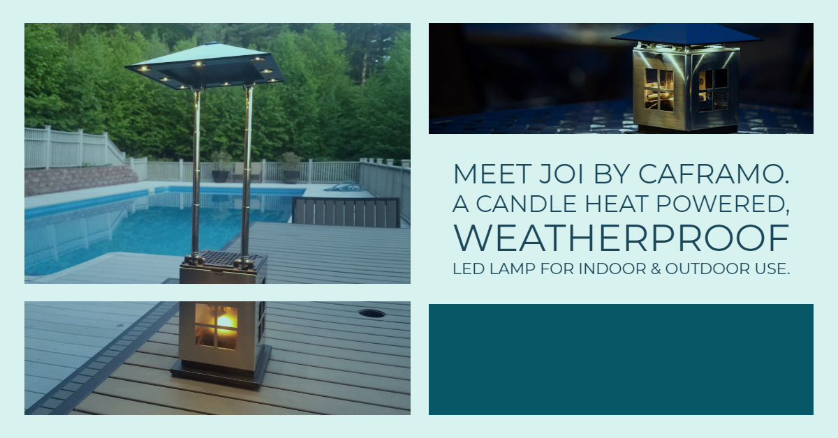 Review: Meet JOI by Caframo. It's a Candle Heat Powered, Weatherproof LED Lamp for Indoor & Outdoor Use!