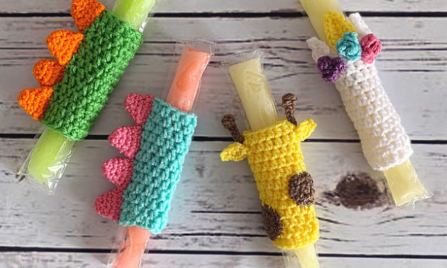 I Spy Unicorns, Sharks and a Giraffe Too! Check Out These Super-Fun Quick & Easy Freeze Pop Cozy Patterns!