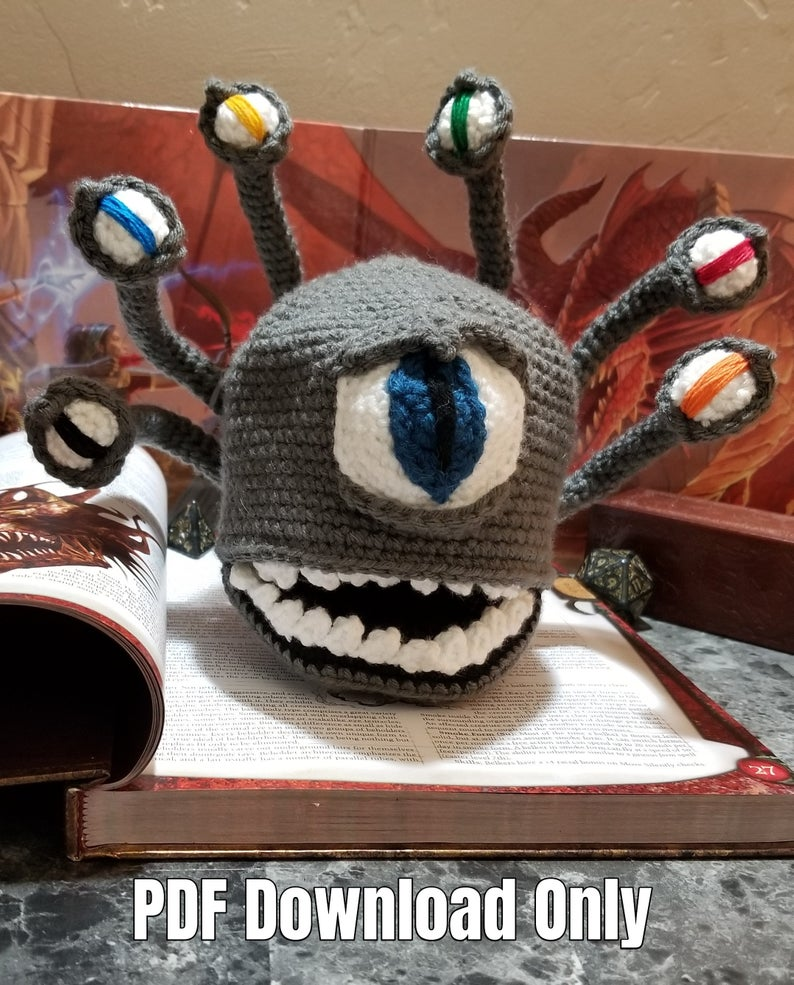Crochet a Beholder Dice Bag ... For Dungeons and Dragons Fans!