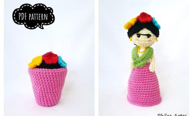 Crochet a Frida Kahlo Amigurumi Flower Vase … It Transforms From Doll To Flower Pot!
