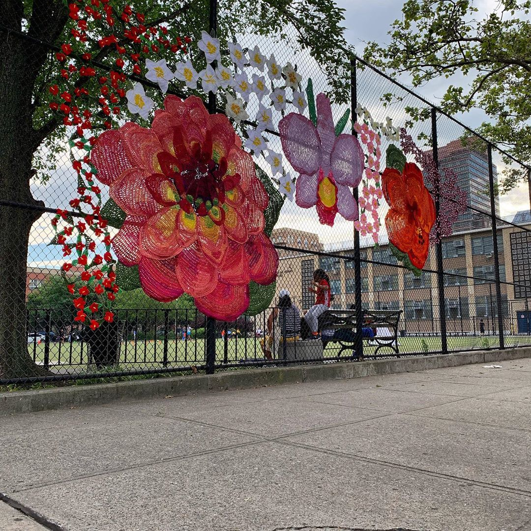 Yarn Bomb in East Harlem: 'La Flor De Mi Madre 2019' By Naomi Rag