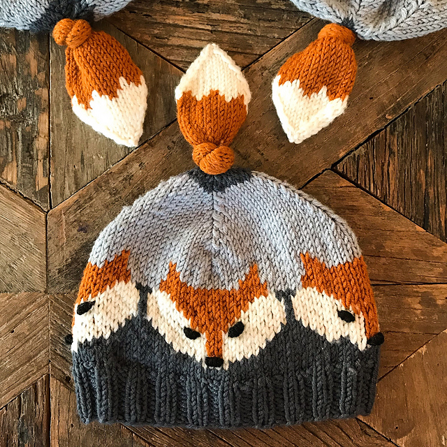 Knit An Adorable Fox Hat - It Has a Tail On Top!