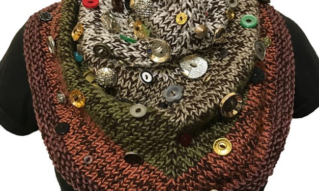 Knit a Veth Shawlette, Then Add ALL Your Buttons … It Looks Fantastic!