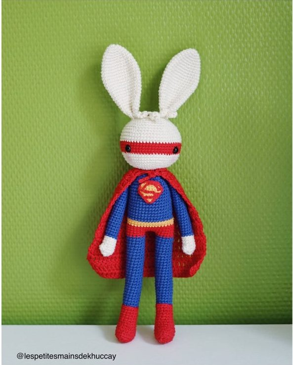 Crochet a Pair of Super Bunny Amigurumi ... Inspired by Wonder Woman and Superman