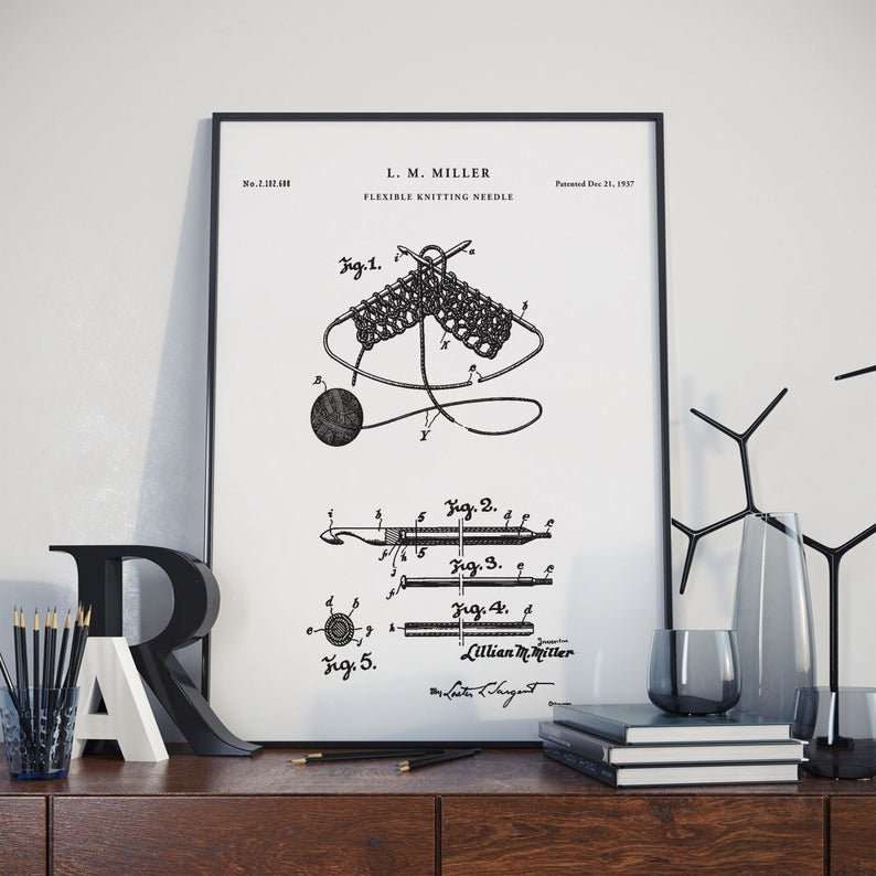 Great Gift For Knitters: Knitting Needle 1937 Patent Print - Comes in a Variety Of Sizes, Colors and Styles ... Even Framed!