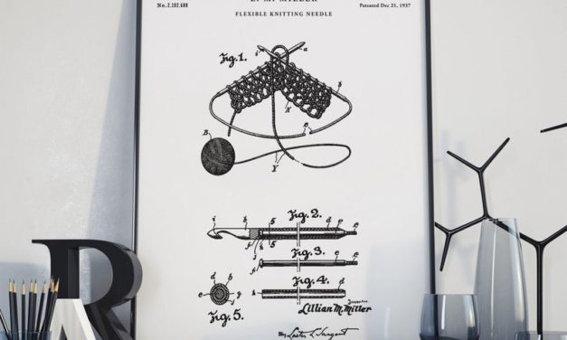 Available In Four Colors: Knitting Needle 1937 Patent Print