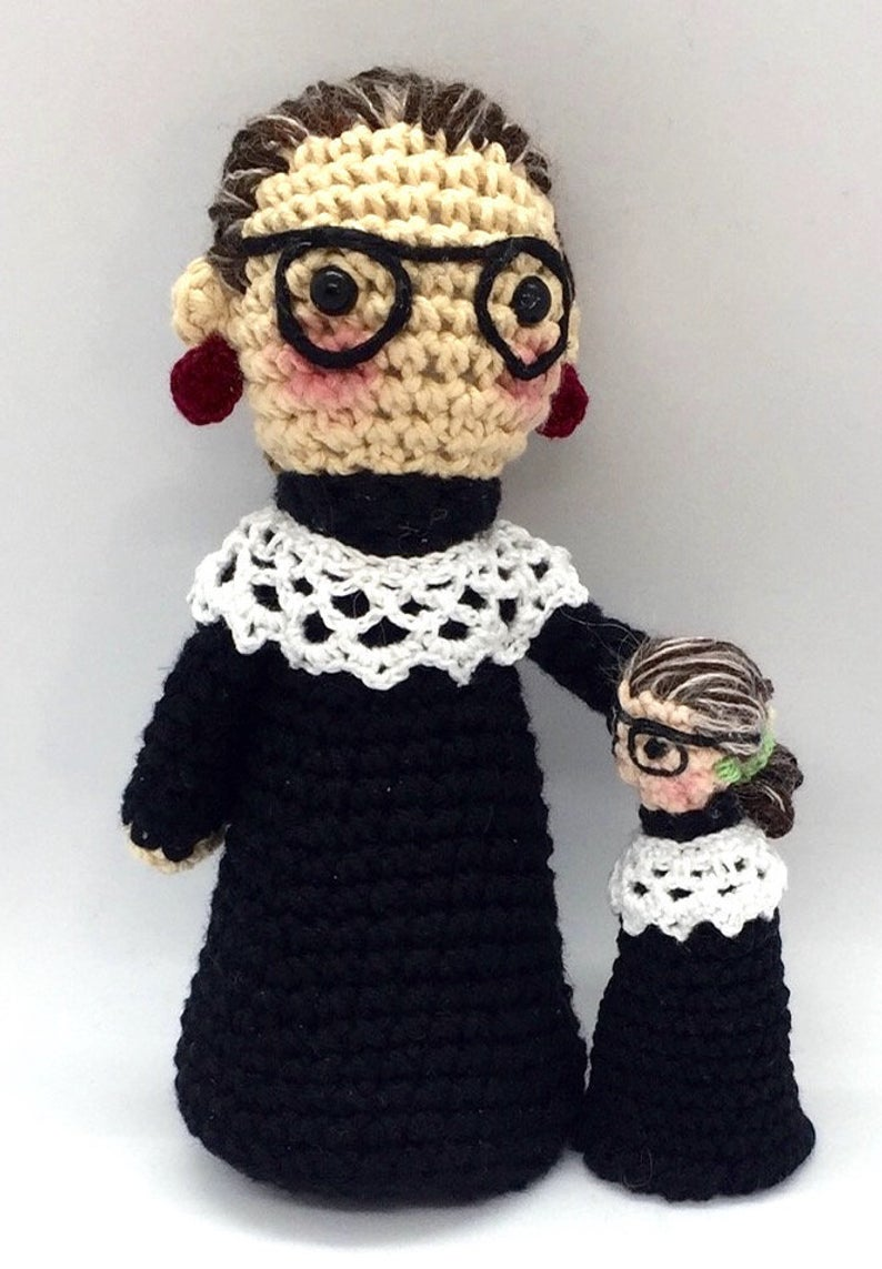Crochet a Ruth Bader Ginsburg Amigurumi ... Pattern Comes With Bonus Finger Puppet!