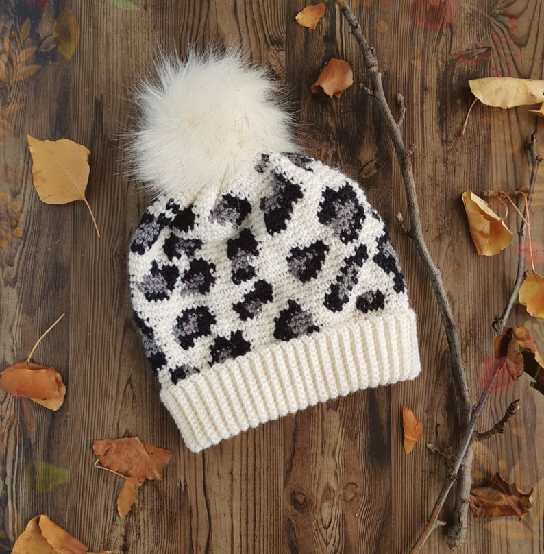 The Leopard Print Slouchy Beanie You've Been Waiting For ... Get The Crochet Pattern Today!