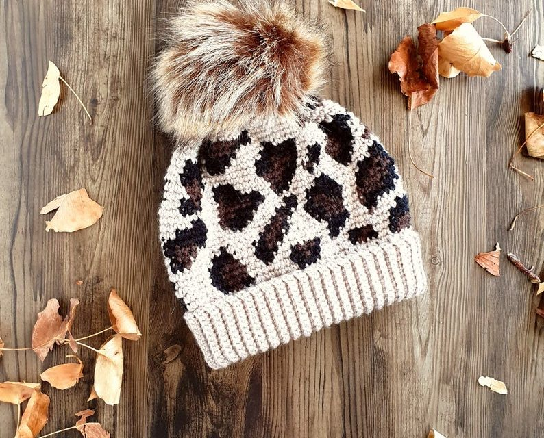 The Leopard Print Slouchy Beanie You've Been Waiting For … Get The Crochet Pattern Today!