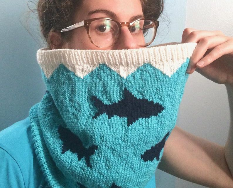 Knit a 'Sharkney Cowl' The Perfect Accessory For Shark Week and Beyond!