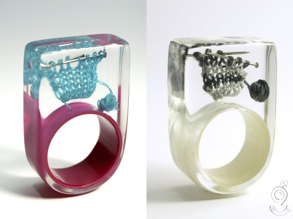 Knitting Meets Resin In This Creative and Unique Ring Designed by Isabell Kiefhaber