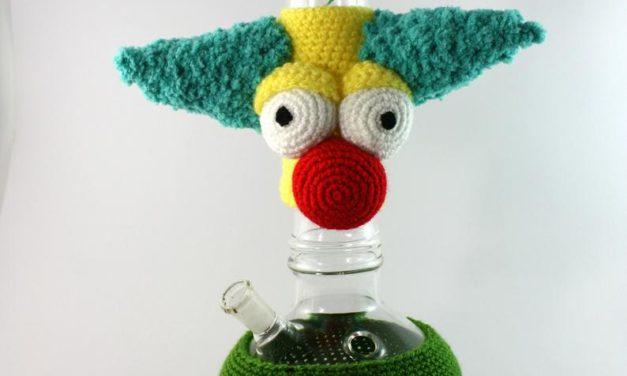 It's a Crochet Krusty The Clown Bong Cozy!