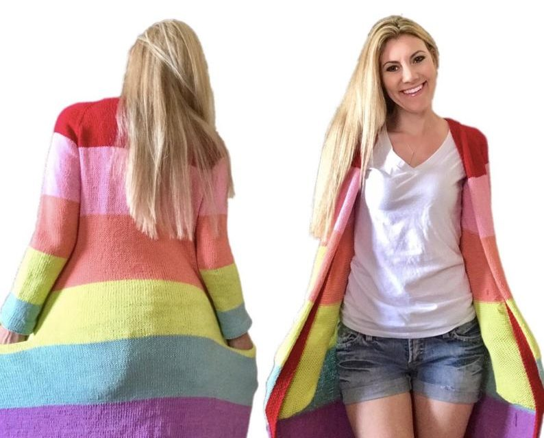 Knit A Colorful In The Clouds Cotton Cardi