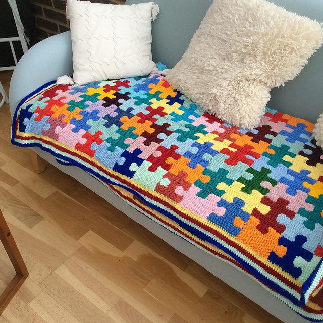 Knit a Fabulous Puzzle Pieces Afghan … Gorgeous Stashbuster Alert!