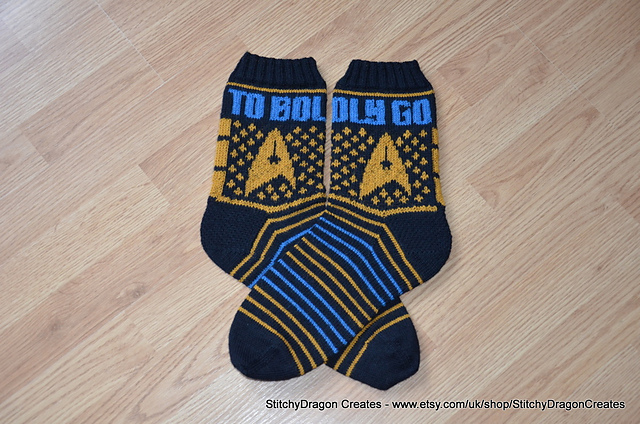 To Boldly Go ... Knit a Pair of Star Trek Socks, FREE Pattern!