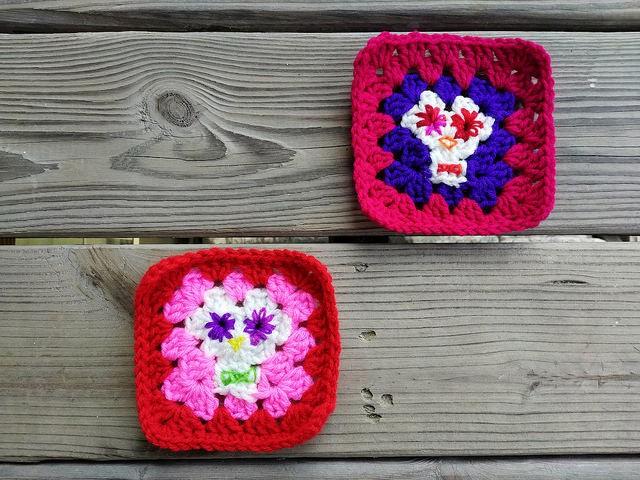 Free Tutorial Alert! Day of the Dead Crochet Granny Square