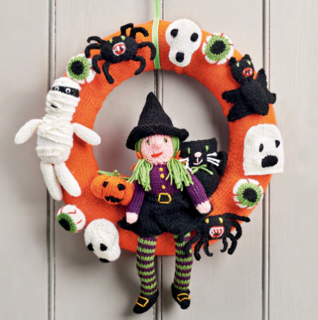 Free Halloween Wreath pattern from Let's Knit UK