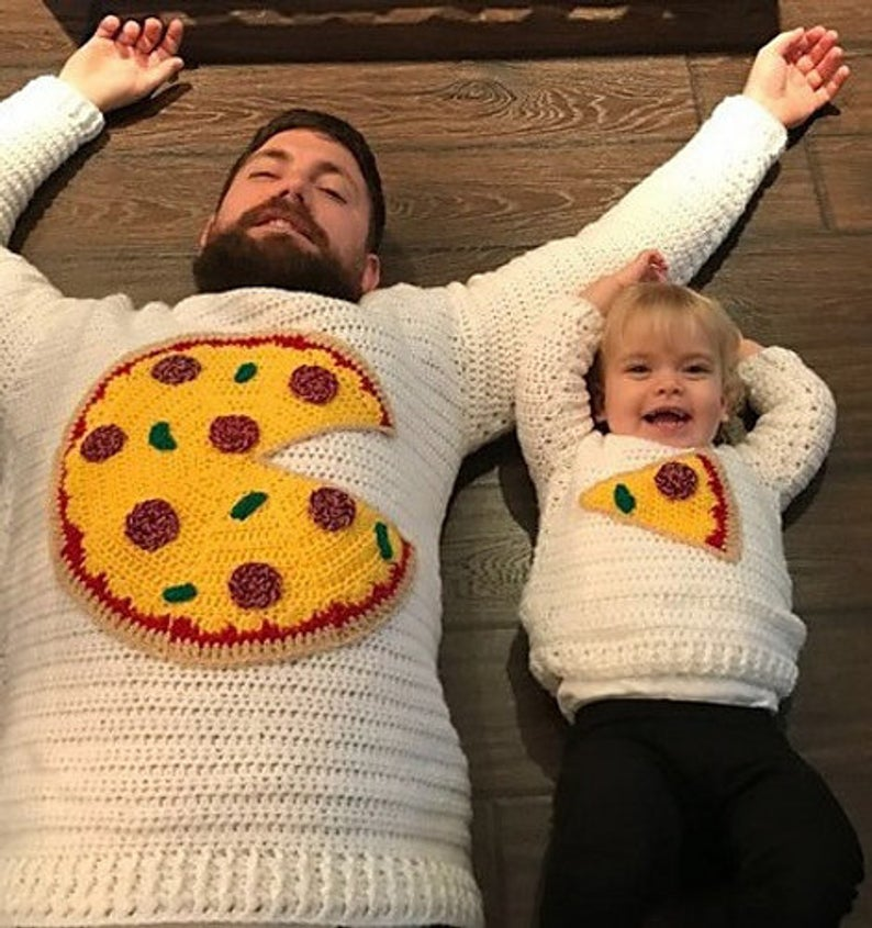 The Cutest Set Ever ... Crochet a Pizza Pie Sweater for Two!