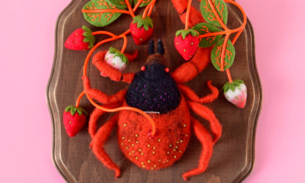 Hiné Mizushima's Strawberry Tick … The Only Tick I Could Ever Love … It's Felted!