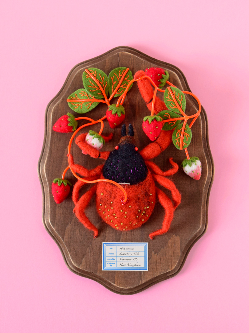 Hiné Mizushima's Strawberry Tick ... The Only Tick I Could Ever Love ... It's Felted!