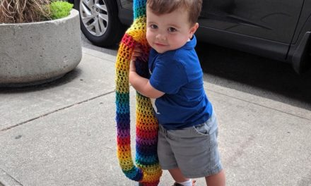 Meet The Cutest Yarn Bomb Hugger In The World