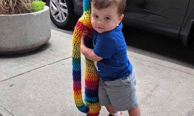 Meet The Cutest Yarn Bomb Hugger In The World